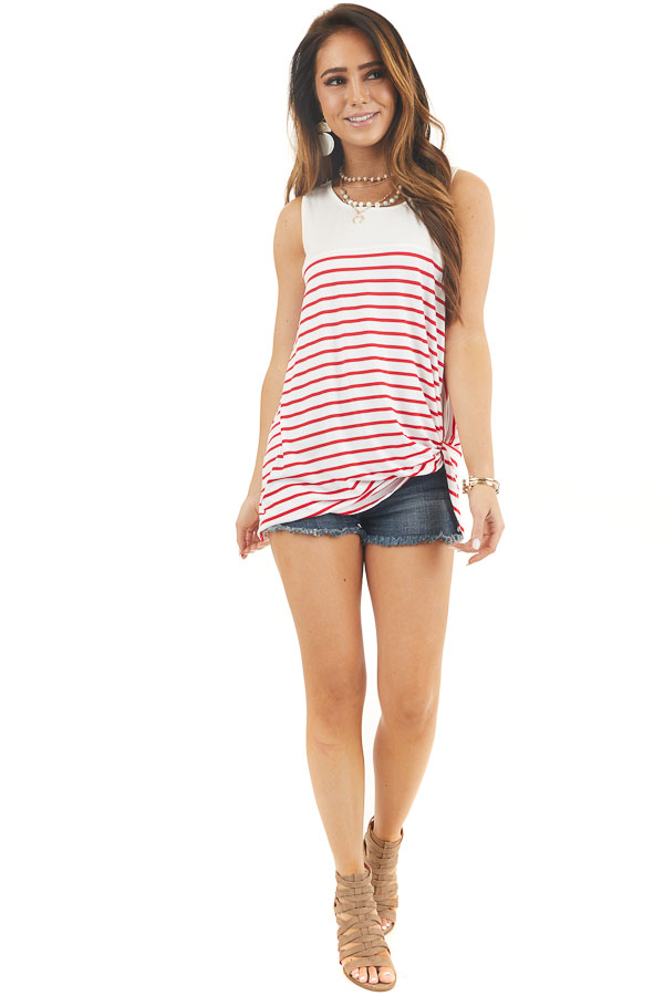 Ivory and Crimson Red Striped Knit Tank Top with Front Twist
