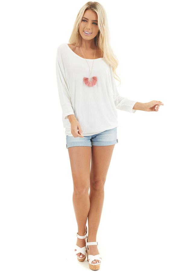 Ivory Long Dolman Sleeve Top with One Cold Shoulder