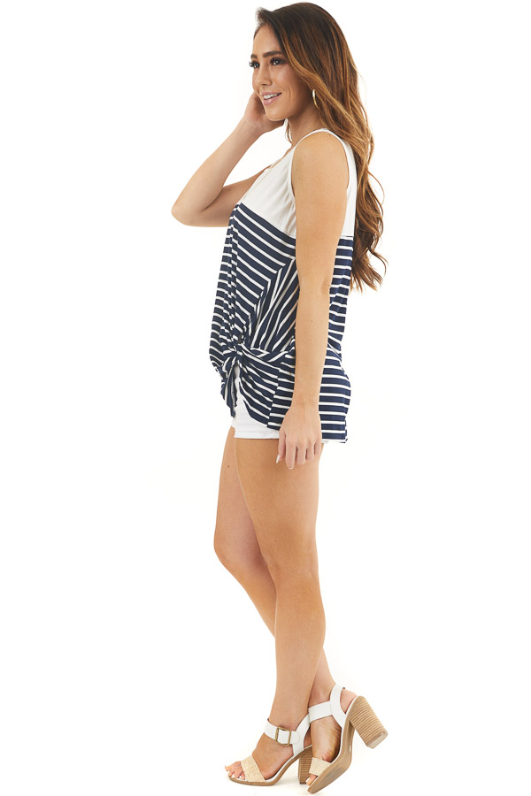 White and Navy Striped Knit Tank Top with Front Twist