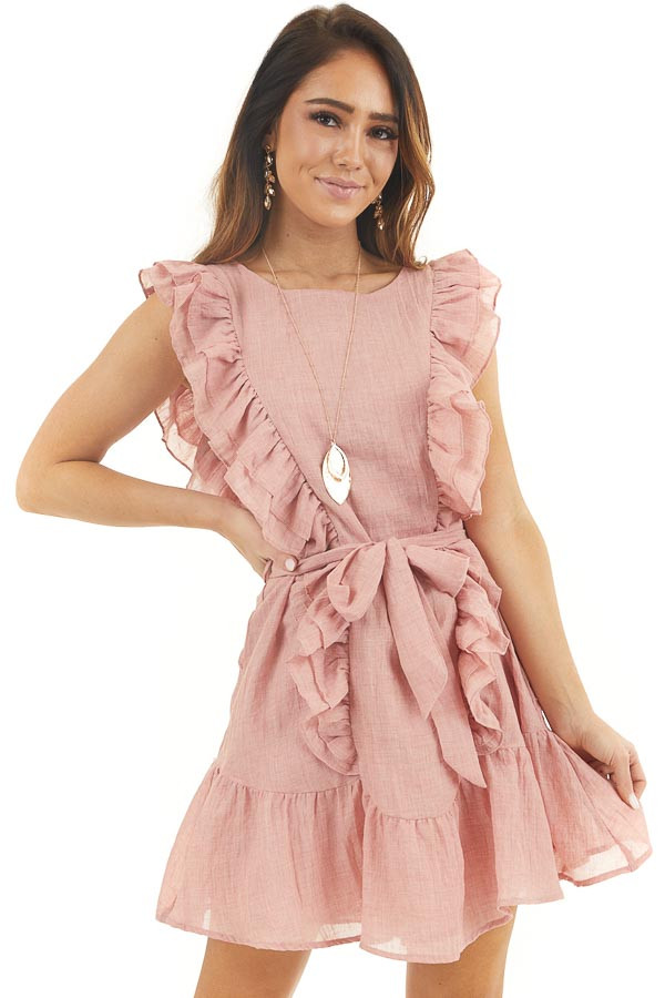 Dusty Coral Woven Dress with Ruffle Details and Front Tie