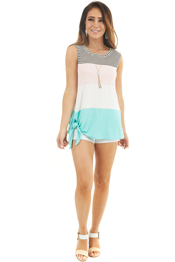 Ivory Color Block Knit Tank Top with Stripes and Side Tie