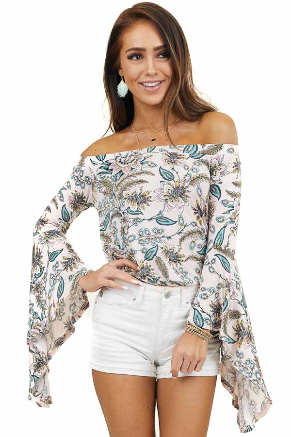 Blush Floral Off the Shoulder Top with Flared Sleeves