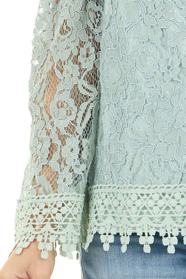 Mint Off Shoulder Lace Top with Long Sheer Sleeves