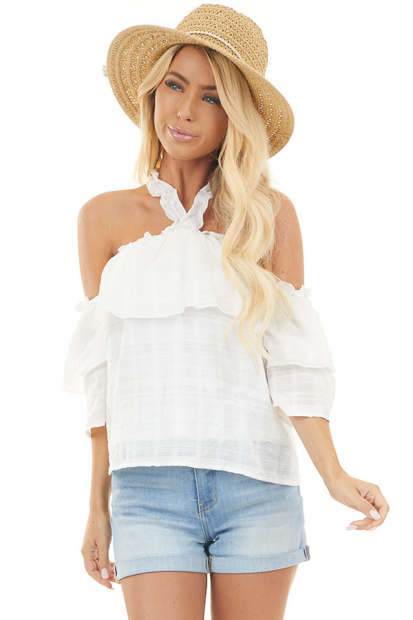 White Cold Shoulder Halter Tie Top with Bust Overlay