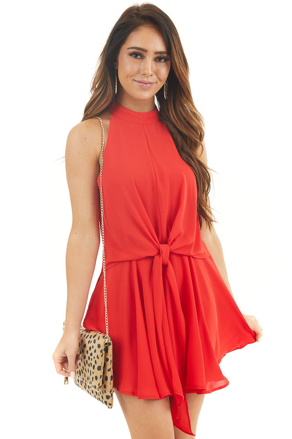Crimson Red Halter Neck Romper with Keyhole and Tie Details