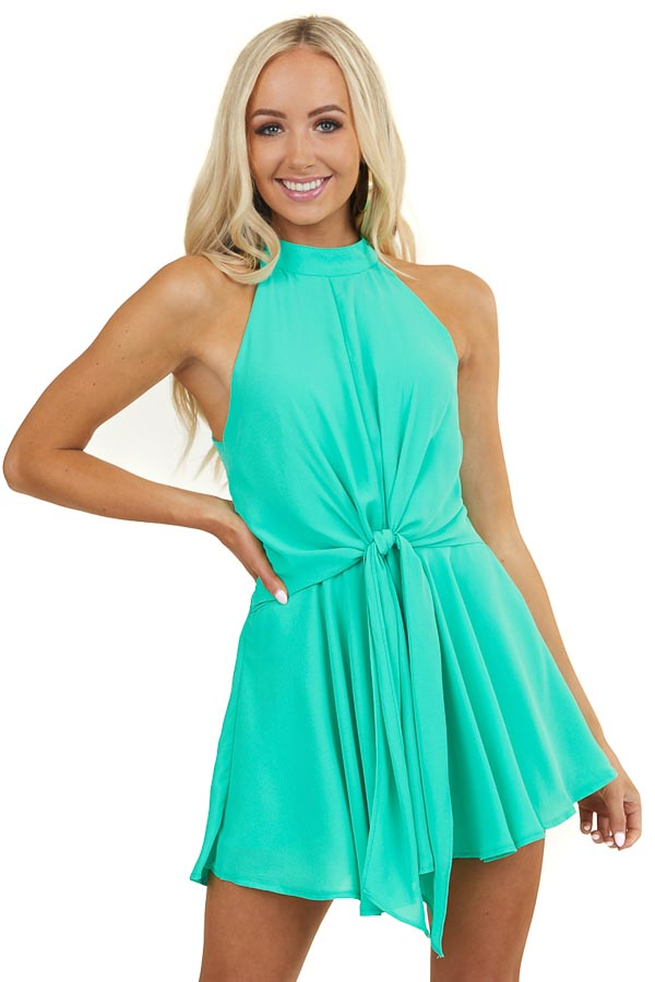 Seafoam Halter Neck Romper with Keyhole and Tie Details