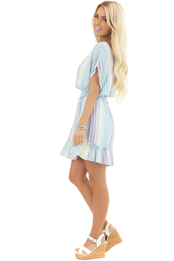 Blue and Green Multicolor Striped Short Sleeved Knit Dress