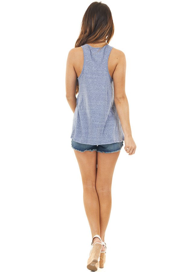 """Dusty Blue """"USA"""" Graphic Tank Top with Star Print"""