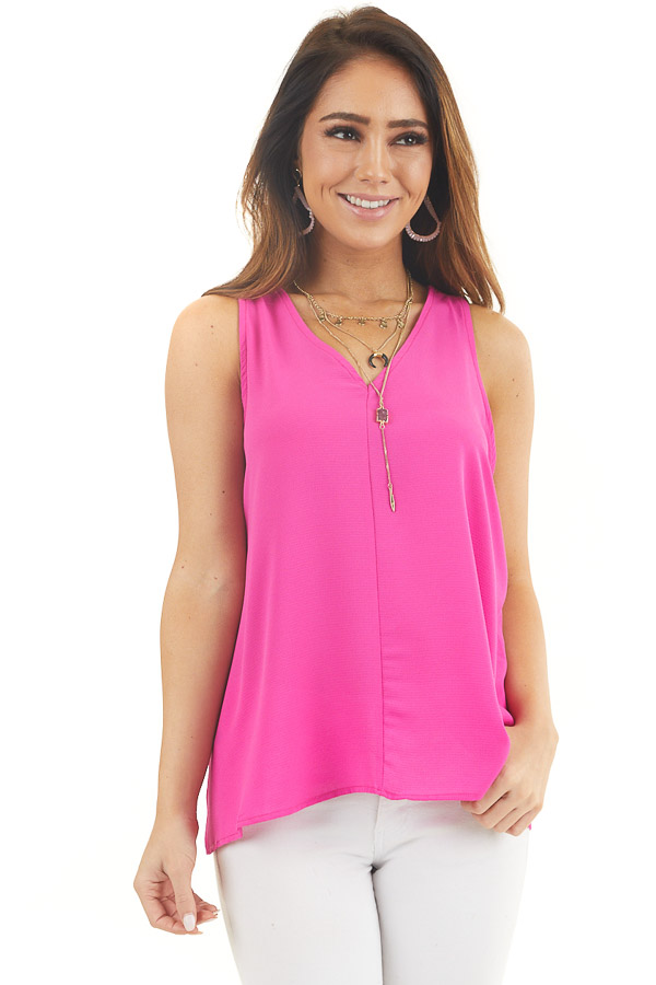 Magenta Sleeveless V Neck Tank Top with Back Tie Detail
