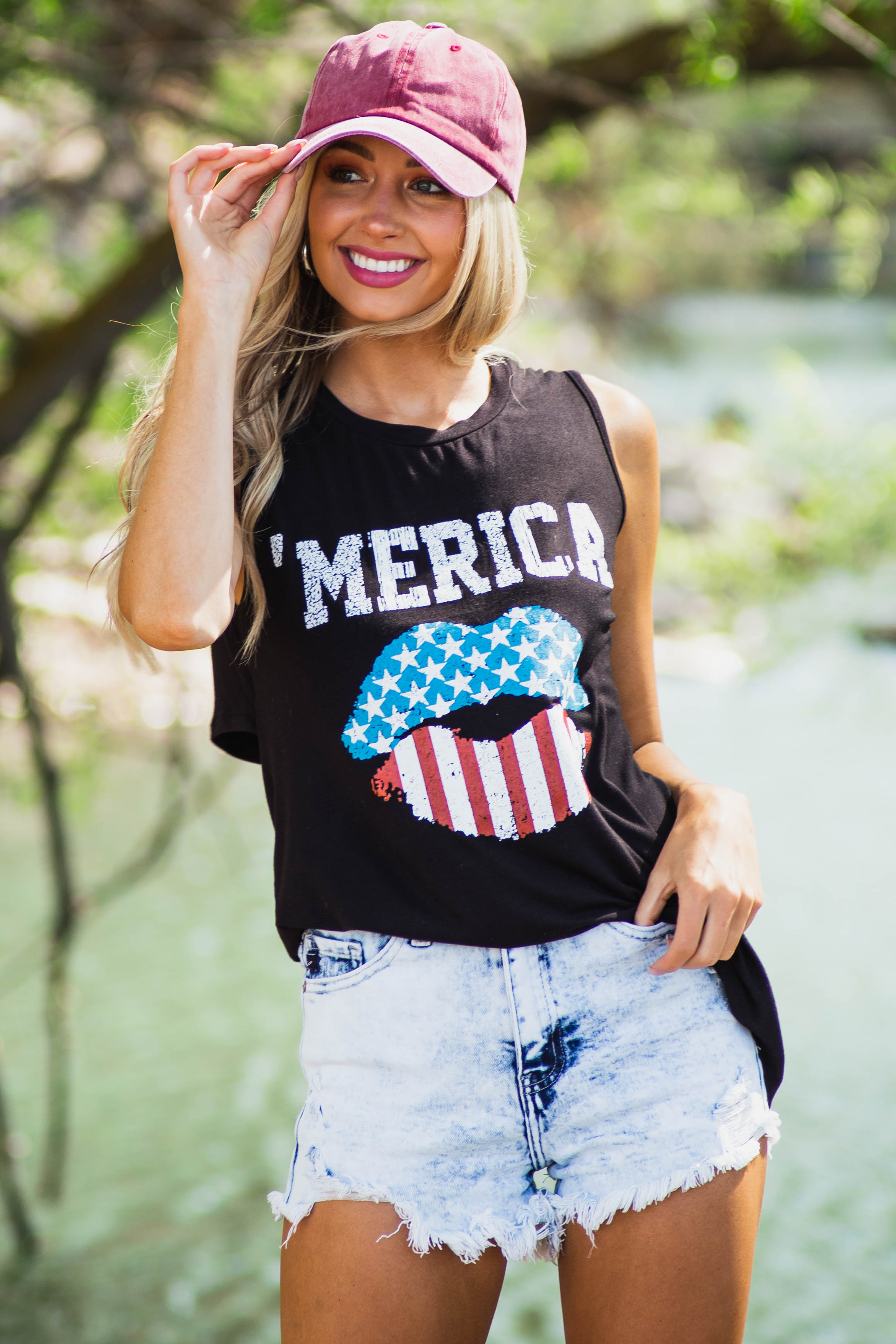 Black 'MERICA' Tank Top with Lip Graphic and Back Cutout