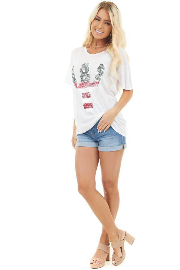 Off White Short Sleeve Top with Patriotic Cactus Graphic