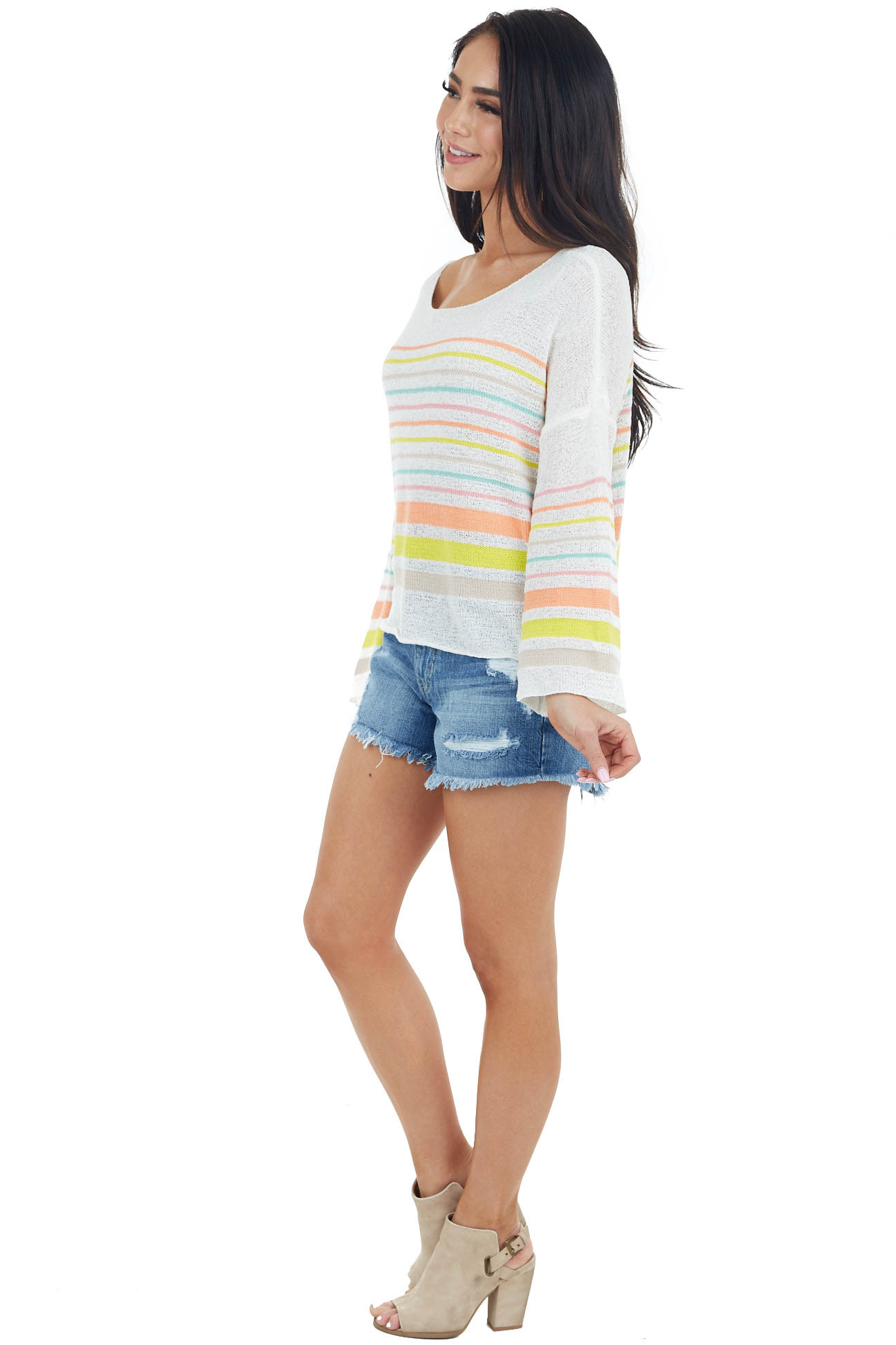 Off White Multicolor Striped Lightweight Knit Sweater