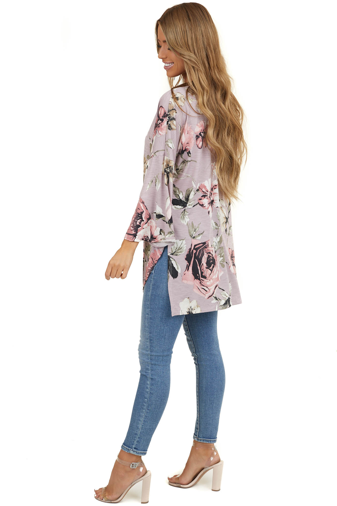 Lavender Floral 3/4 Length Sleeve Kimono with Side Slits