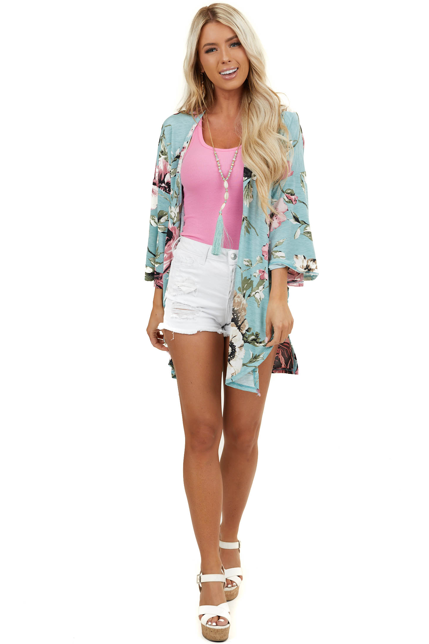 Seafoam Floral 3/4 Length Sleeve Kimono with Side Slits