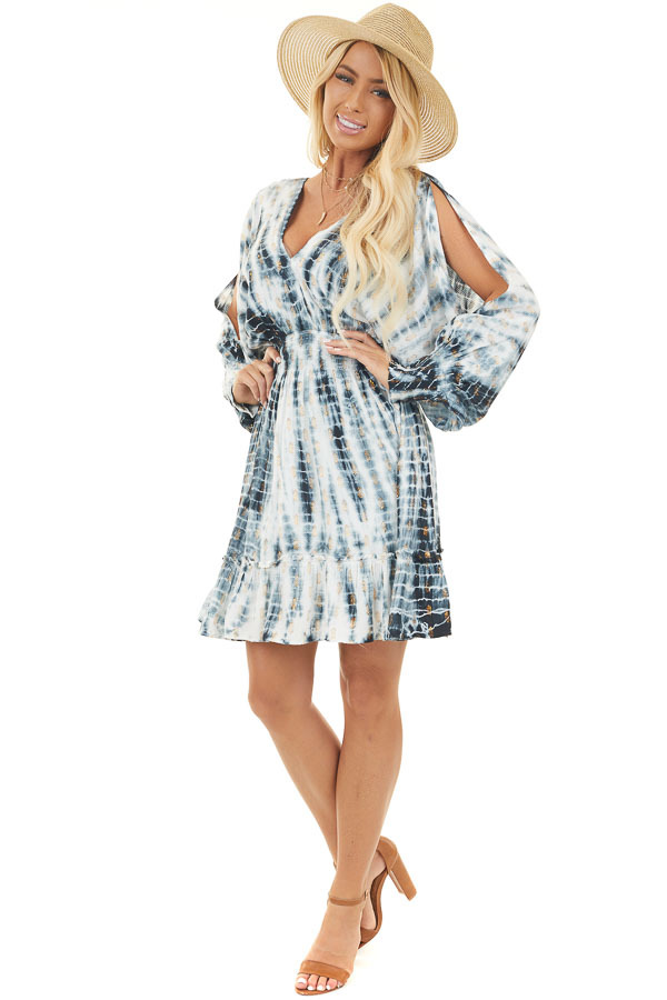 Indigo Tie Dye with Gold Dots and Dolman Sleeve Short Dress