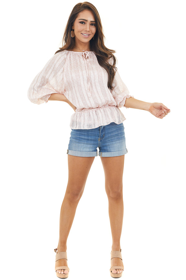 Blush and Ivory Printed Peplum Blouse with Gold Details