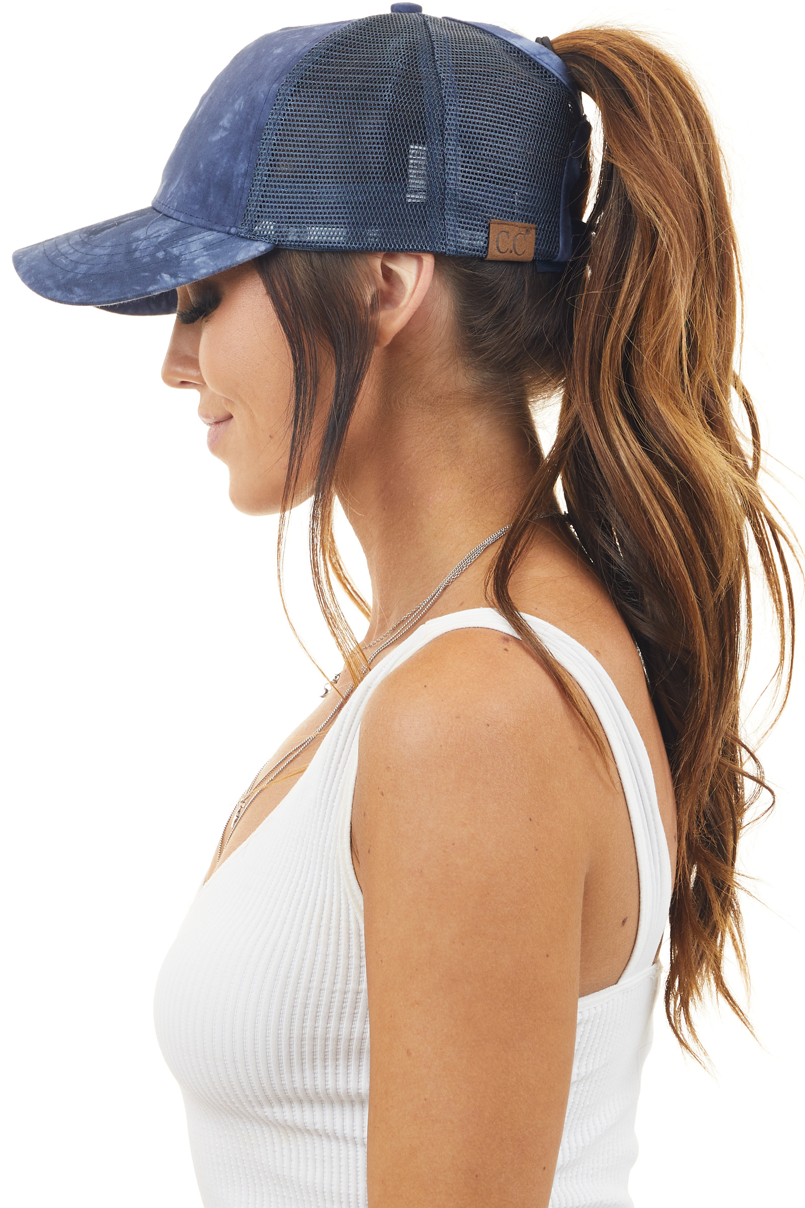 Navy Blue Tie Dye Ponytail Trucker Cap with Mesh Back