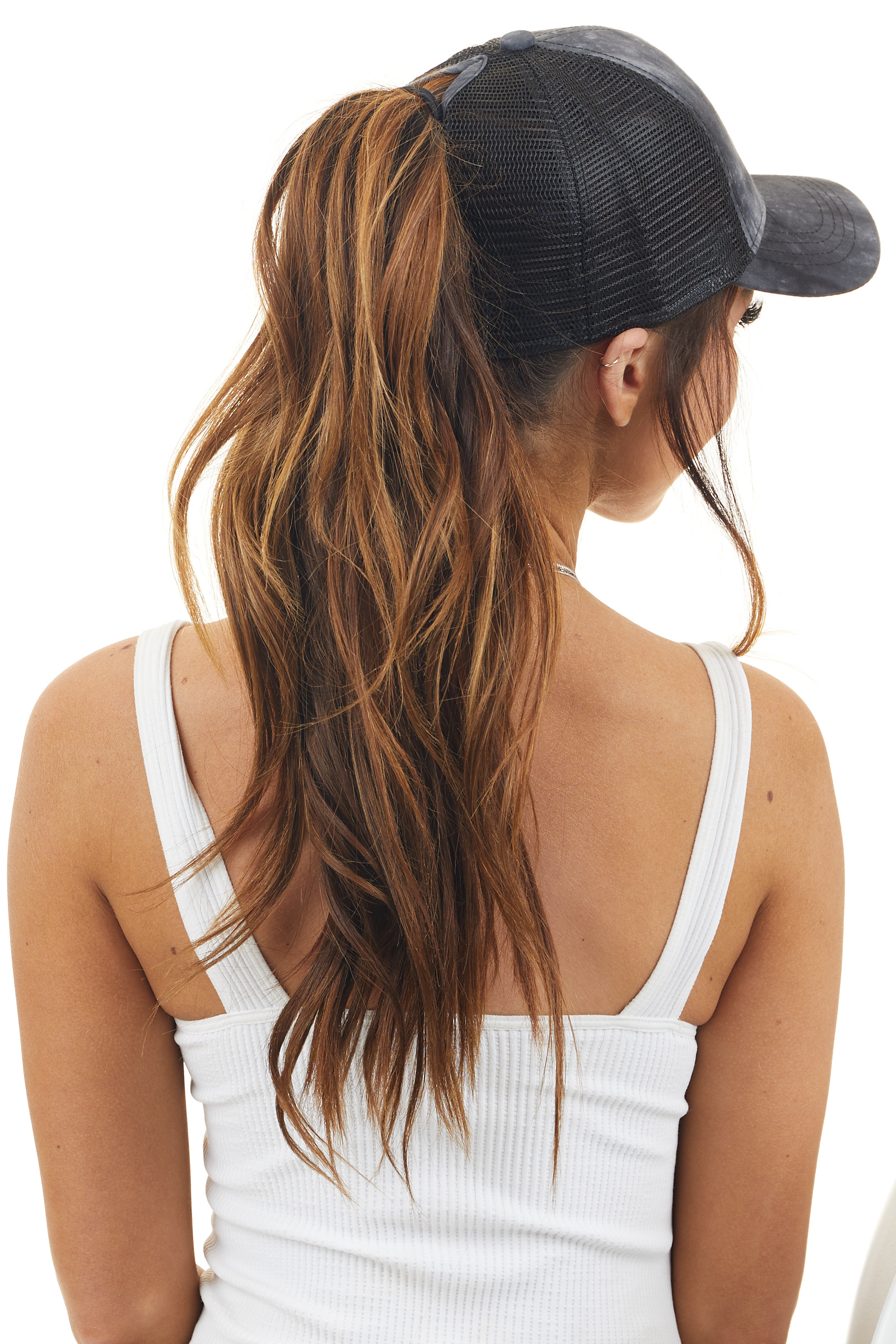 Black Tie Dye Ponytail Trucker Cap with Mesh Back