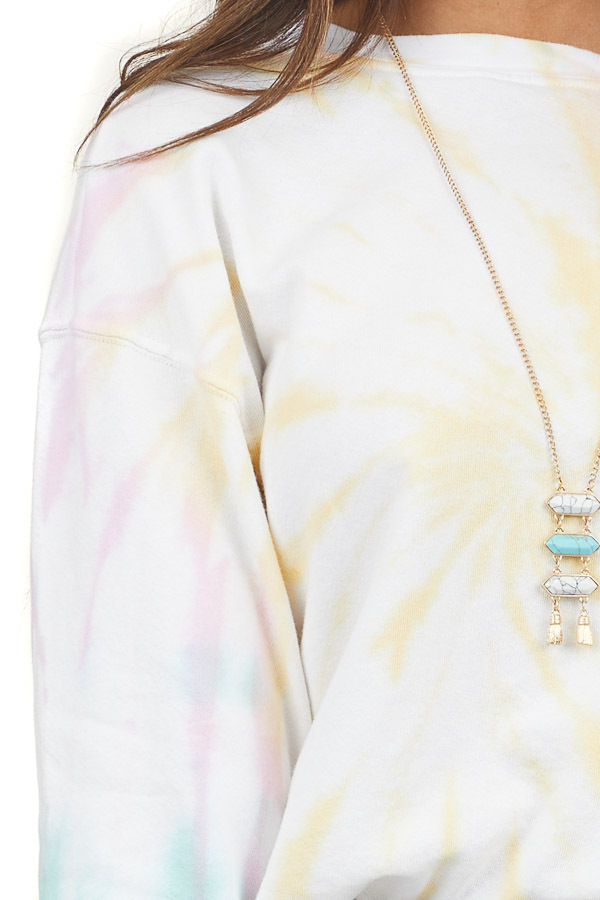 Multicolor and White Tie Dye Crop Top with Long Sleeves