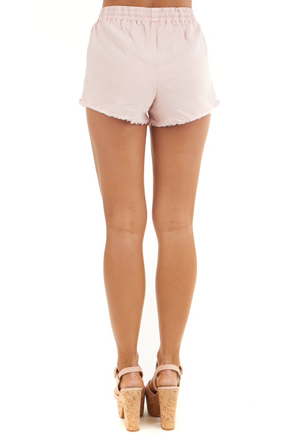 Dusty Blush Denim Shorts with Frayed Hem and Front Tie