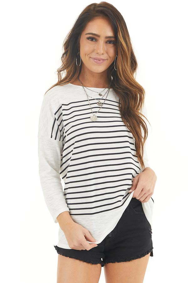 Off White and Black Striped Knit Top with 3/4 Length Sleeves