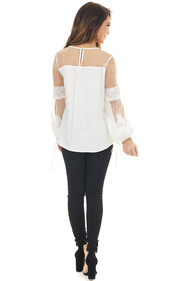 Off White Blouse with Long Sheer Sleeves and Lace Details