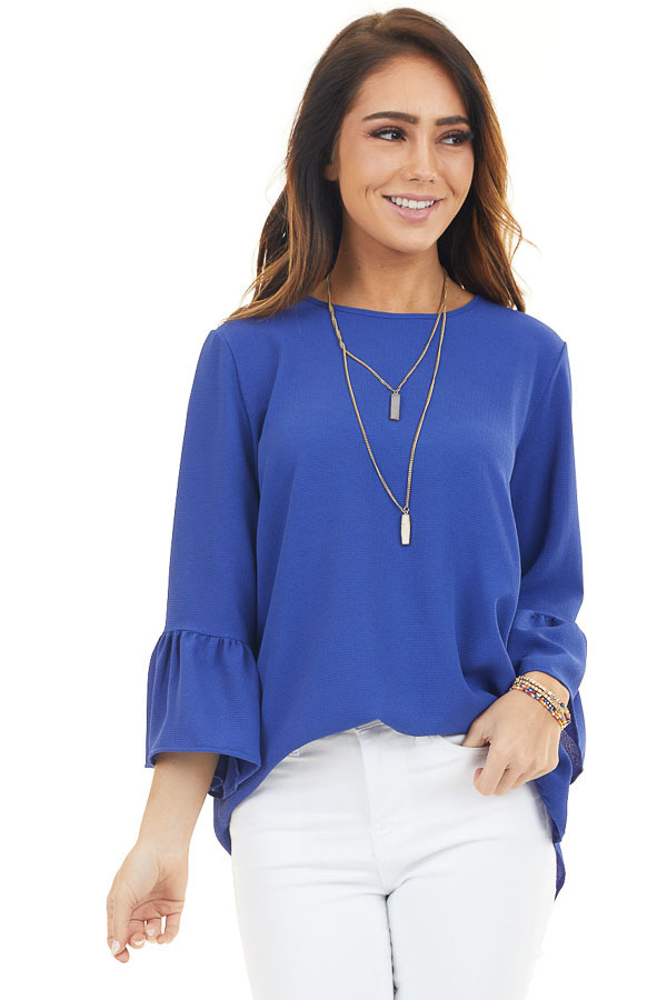Royal Blue Ruffle Sleeve Tunic Top with Back Keyhole Detail