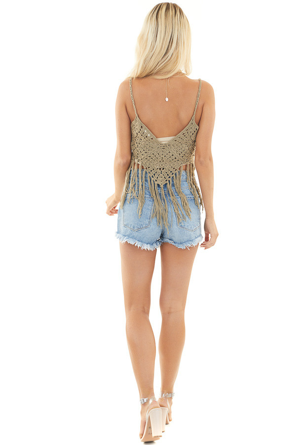 Faded Olive Crocheted Crop Tank Top with Fringed Hem