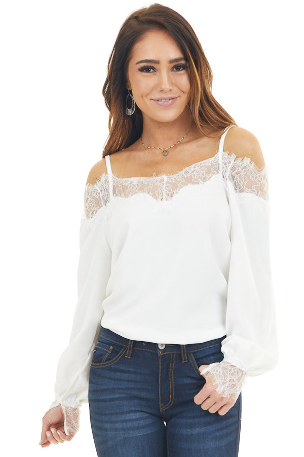 White Bubble Sleeve with Lace Neckline Cold Shoulder Top