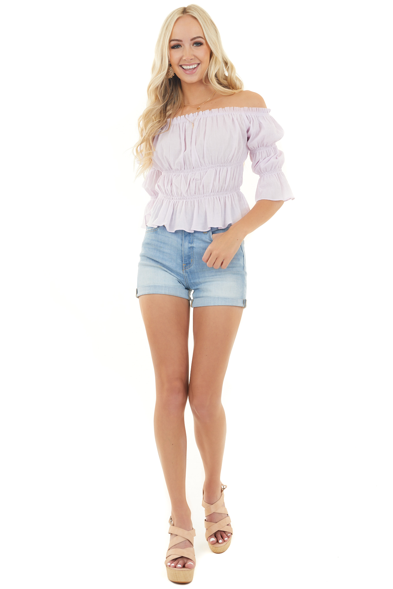 Pale Lilac Off Shoulder Gathered Top with Ruffle Hemline