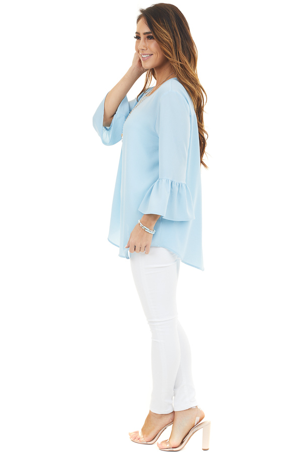 Sky Blue Ruffle Sleeve Tunic Top with Back Keyhole Detail