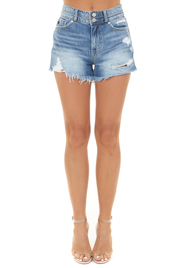 Medium Wash Denim High Rise Shorts with Distressed Details