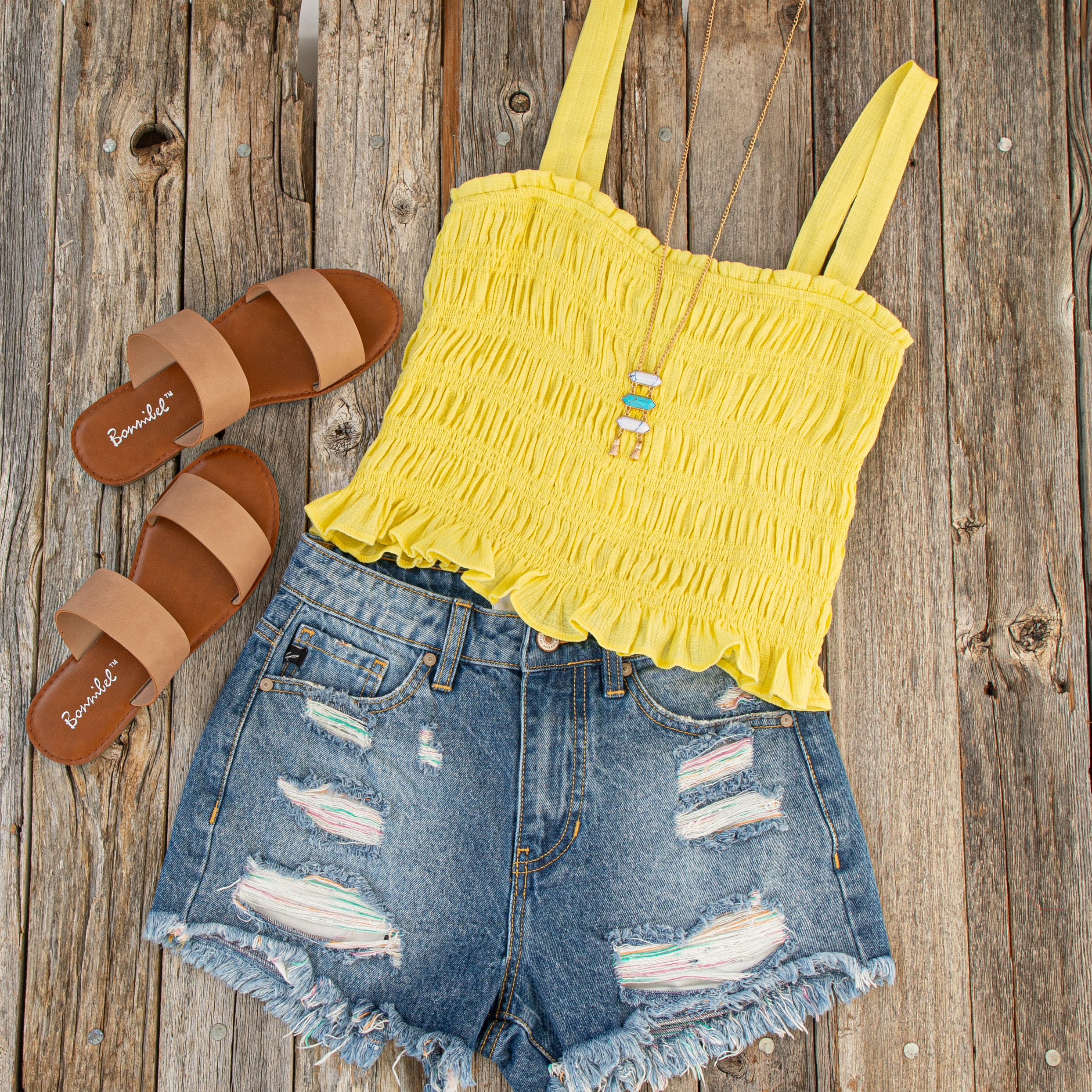 Medium Wash Denim Distressed Shorts with Colored String Detail