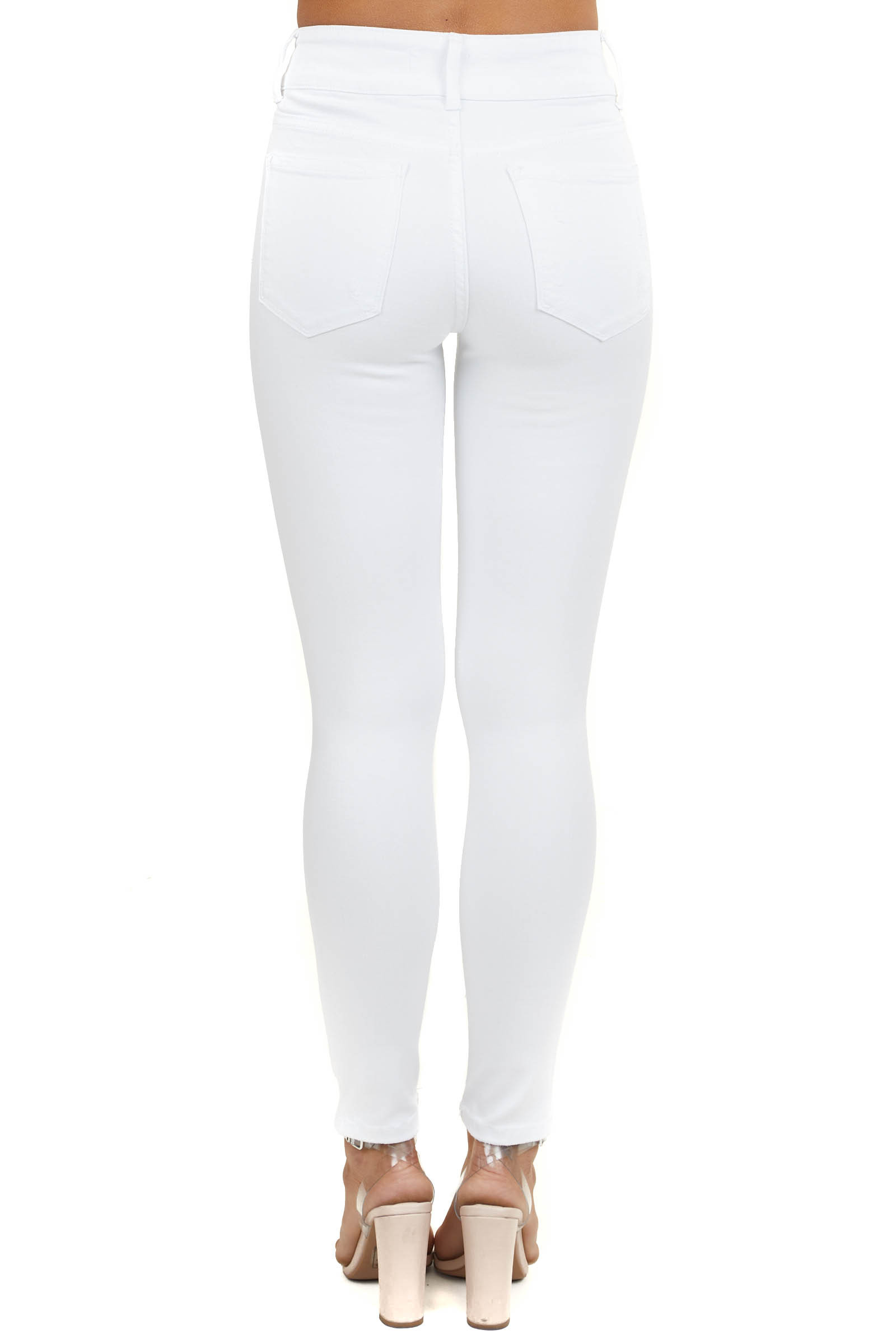 White High Rise Ankle Length Distressed Skinny Jeans