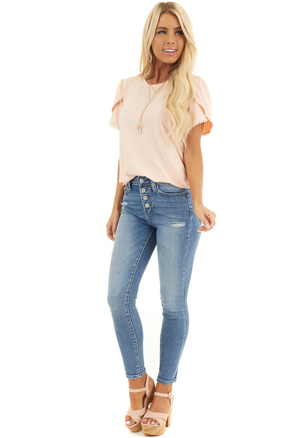 Medium Wash Button Up Distressed High Rise Skinny Jeans