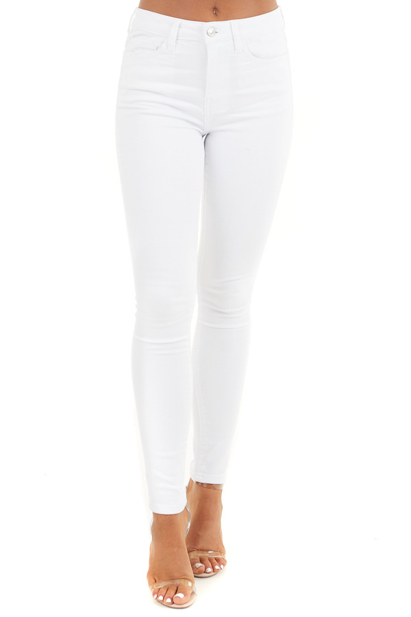 White High Waisted Denim Skinny Jeans with Pockets