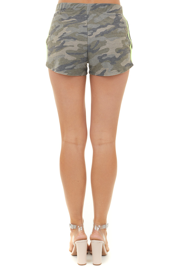 Olive Camo Knit Shorts with Neon Lime Green Accent