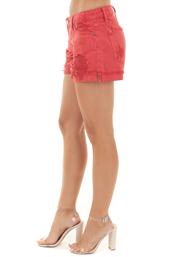 Lipstick Red Mid Rise Denim Shorts with Distressed Details