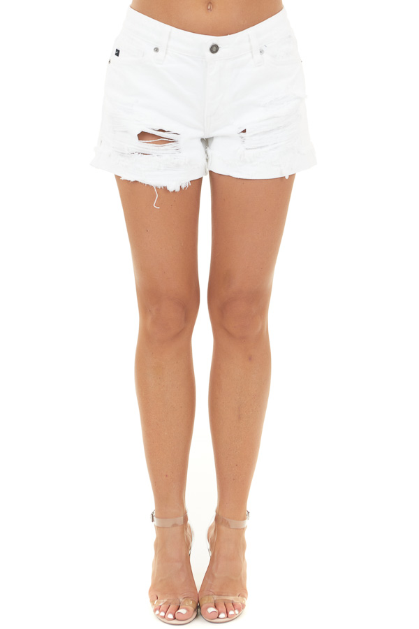 White Mid Rise Denim Shorts with Distressed Details
