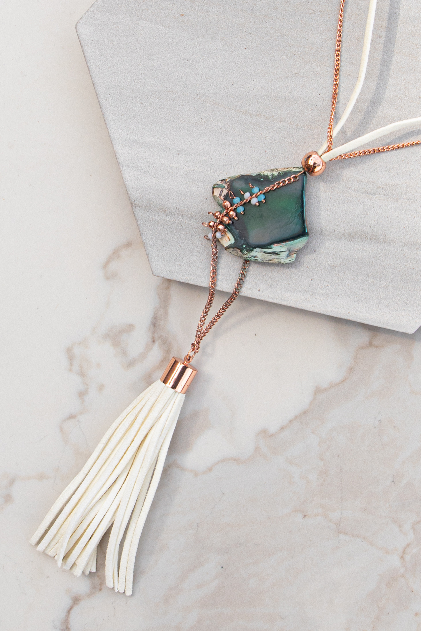 Rose Gold Necklace with Leather Tassel and Stone Pendants