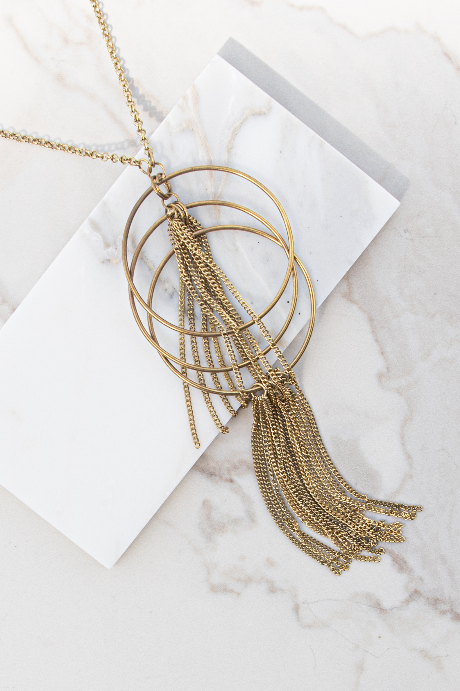 Antique Gold Long Necklace with Layered Circle Pendant