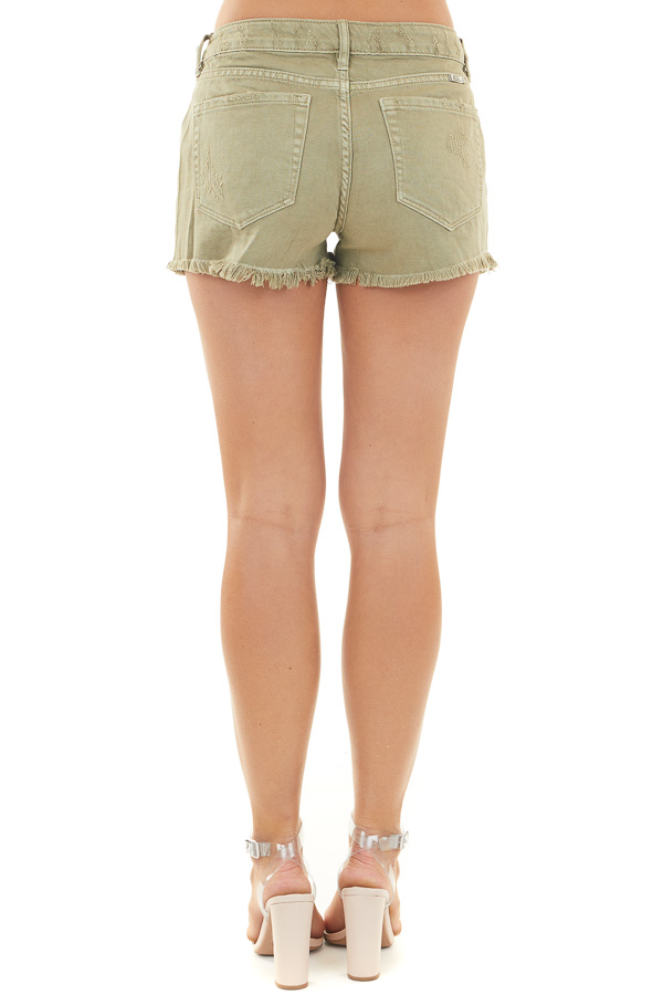 Faded Olive Distressed Mid Rise Denim Shorts with Frayed Hem