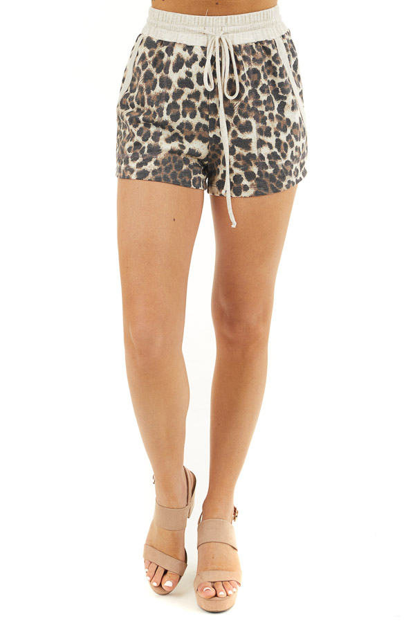 Mocha Leopard Print Elasticized Waist Band Shorts with Tie