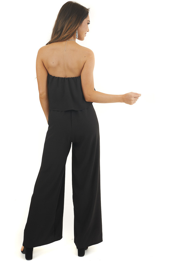 Black Strapless Ruffle Jumpsuit with Tie and Elastic Waist