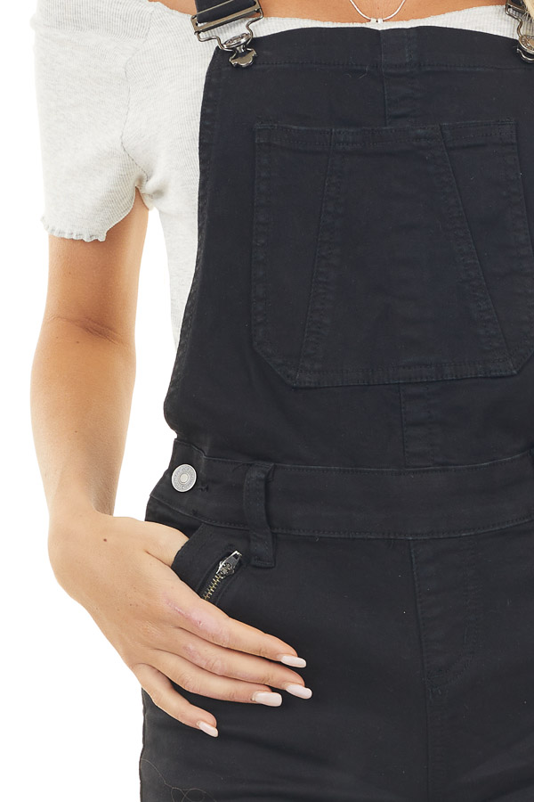 Black Denim Overall Shorts with Frayed Hem and Button Detail
