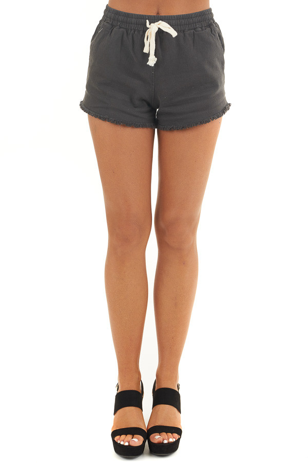 Black Denim Shorts with Frayed Hem and Front Tie Detail