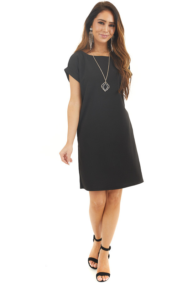 Solid Black Short Shift Dress with Rolled Cuffs and Pockets