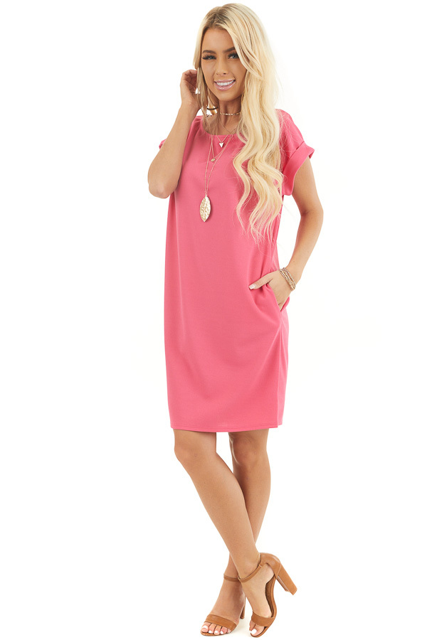 Hot Pink Short Shift Dress with Rolled Cuffs and Pockets