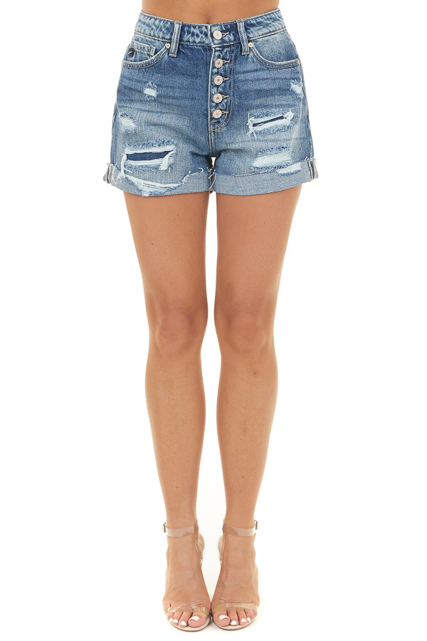 Medium Wash Denim Shorts with Distressed Detail