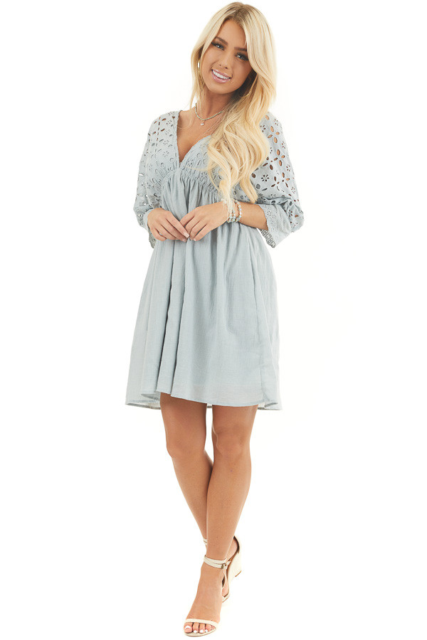 Light Sage Eyelet Babydoll Dress with Plunging Neckline